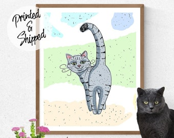 Funny Cartoon Cat Looking Back Print for Cat Lovers