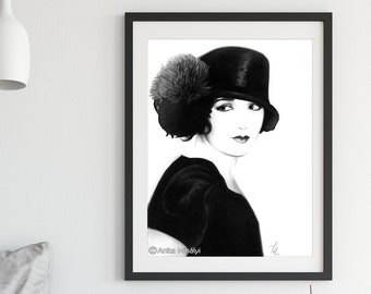 Black and White Woman Portrait Print Large Wall Art