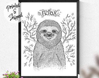 Relaxing and Lazy Sloth Print for Workplace and Living Room