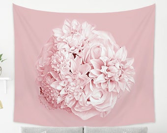 Bouquet Pink Tapestry for Her | Large Pink Flower Wall Decor | Modern Tapestry from Lightweight Fabric | Pink Boho Tapestry Wall Hanging