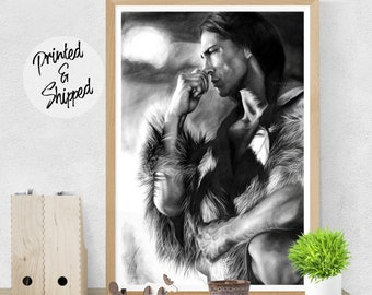 Native American Print Wall Art Black and White Native Poster