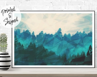 Forest Print Abstract Wall Art of a Mountain Forest in Mist