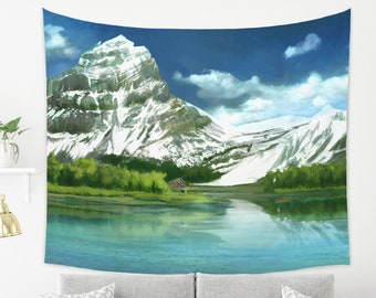 Snowy Mountain Tapestry Digital Painting Wall Art with Mountains