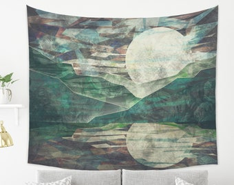 Abstract Japanese Tapestry of Mountains at Night with Rising Moon Tapestry