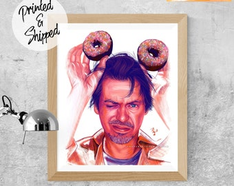 Funny Steve Buscemi Print with Donuts Fanart Poster by Thubakabra