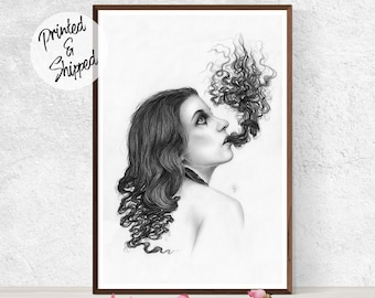 Black and White Pencil Drawing of a Surreal Portrait Print by Thubakabra