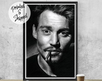 Johnny Depp Pencil Portrait Poster for Fans by Thubakabra
