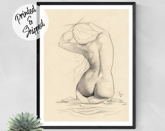 Nude Woman Print Pencil Drawing Sketch by Thubakabra
