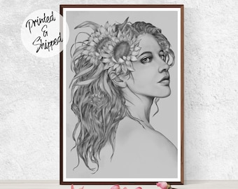 ART Nouveau Print Surreal portrait of a Girl with Summer Flowers