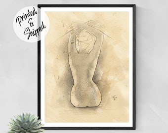 Woman Back Pencil Nude Art Figurative Print byThubakabra