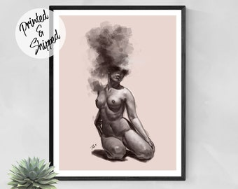 Woman Nude Art Figurative Print of a Painting