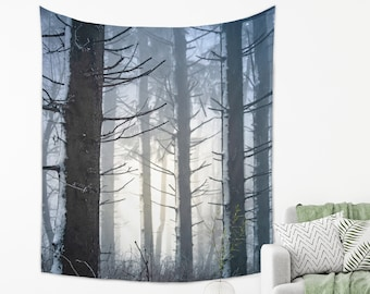 Winter Forest Tapestry Blue Photography Wall Hanging from Lightweight Fabric