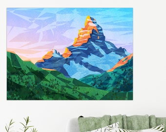 Abstract Mountain Wall Art in Vivid Colors Child Room Wall Decoration Print