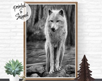 Black and White Drawing of a Wolf Art Print by Thubakabra