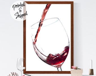 Wine Print | Wine Kitchen Art Poster Gift for Her | Elegant Red Wine Wall Decor | Wine Photography Art Printed on Paper