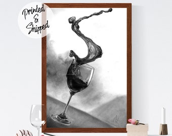 Wine Art Print Wine Lover Gifts and Home Decor by Thubakabra