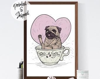 Coffee and Pug Wall Art Decor Gift for Coffee Addicts
