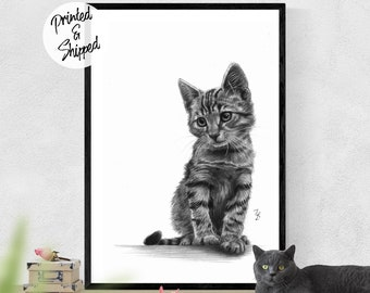 Cat Print Wall Art Realistic Pencil Drawing for Cat Lovers Printed on Matte Paper