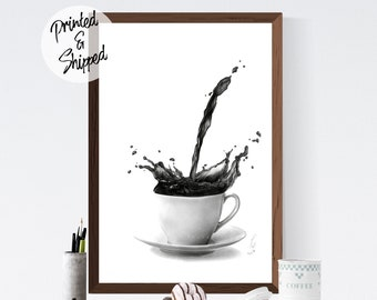 Coffee Poster Black and White Wall Decor Gift for Coffee Lovers