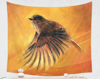 Flying Bird Tapestry | Orange Nature Tapestry Wall Hanging | Bird Painting Tapestry | Nature Lover Gift Large Wall Decor