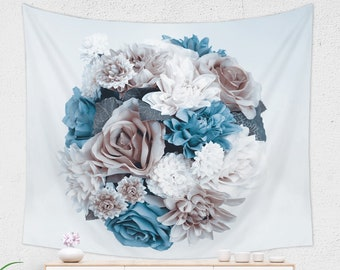 Flower Tapestry | Large Taupe Blue Flower Gift Wall Decor | Floral Tapestry from Lightweight Fabric | Bohemian Tapestry Wall Hanging