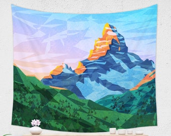 Mountain Wall Tapestry in Abstract Style and Vivid Colors for Kids Room