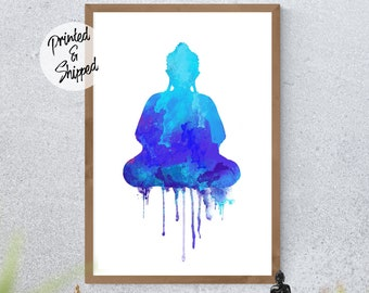 Meditating Buddha Watercolor Print in Blue Colors Zen Wall Art Decoration