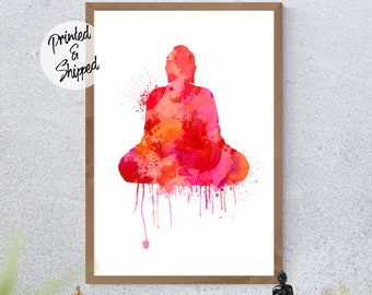 Red Meditating Buddha Wall Art Print for the Zen Home