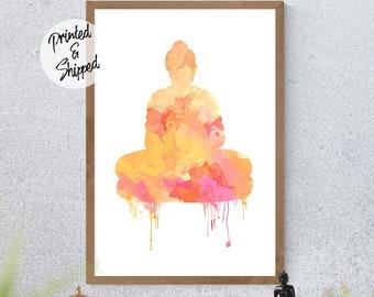 Watercolor Meditating Buddha Wall Art in Yellow and Pink Colors
