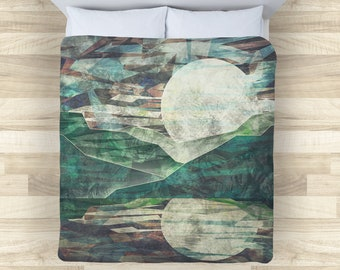 Night Mountain Bedding Set | Abstract Moon Comforter or Duvet Cover Set | Rustic Grunge Duvet Cover | Abstract Mountain Comforter