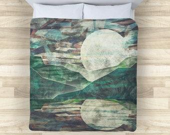 Night Mountain Bedding Set | Abstract Moon Comforter or Duvet Cover Set | Rustic Grunge Duvet Cover | Abstract Mountain Comforter