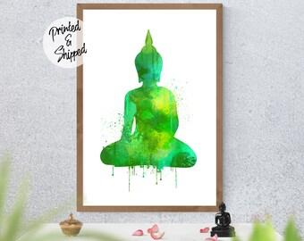 Green Buddha Print Spiritual Buddha Painting Wall Decor for Meditation Room