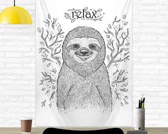 Happy Sloth Dorm Room Decor Motivational Wall Tapestry