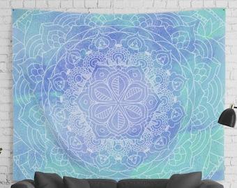 Sea Blue MANDALA TAPESTRY Spiritual Wall Decor Wall Hanging