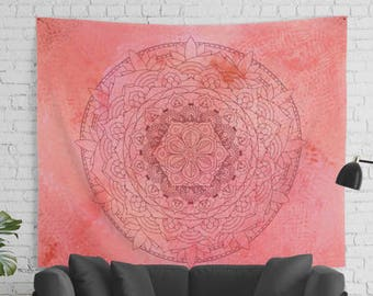 Raspberry Watercolor Mandala Tapestry in Large Sizes for Yoga and Meditation