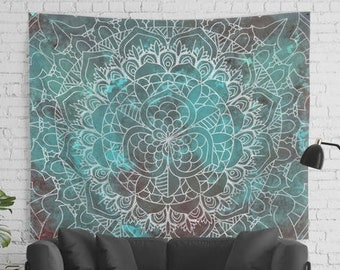 Large Sized Boho Manda Wall Tapestry in Cyan and Brown Color