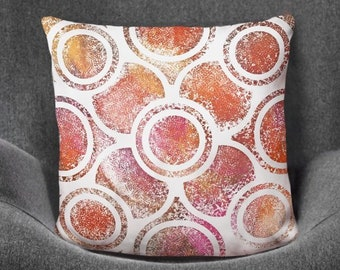 Orange Mandala Pillow Design Printed on 100% Polyester