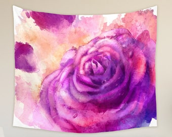 Pink Rose Tapestry Floral and Botanical Wall Hanging for Her