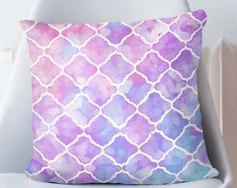 Moroccan Pillow in Purple and Blue Bohemian Home Decoration for Her