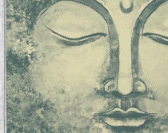 Pointillist Buddha Area Rug Retro Beige Dobby Rug with Bonus Non-Slip Rug Pad