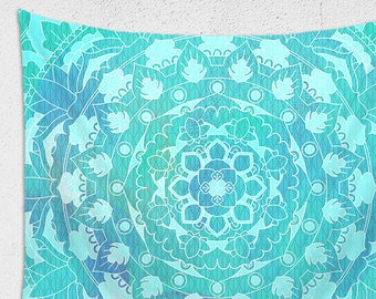 Mandala Tapestry | Sea Green Large Wall Decor | Bohemian Tapestry Trippy Wall Hanging | Bright Hippie Tapestry