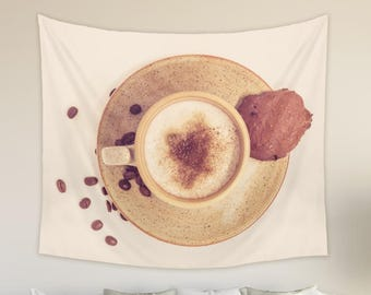 Coffee Wall Hanging Tapestry in Brown and Beige Colors Coffeeholic Gifts