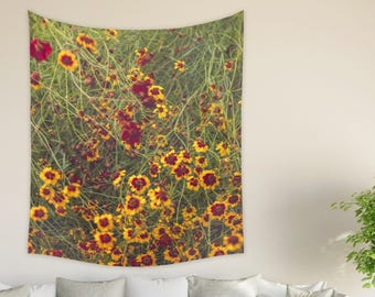 Floral Wall Tapestry | Summer Flower Garden Decor | Yellow Red Flower Tapestry | Floral Wall Decor Gift For Her