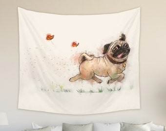 Pug Tapestry Wall Hanging for Nursery and Child Room Dog Tapestry for Dog Lovers