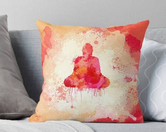 Red Square Buddha Pillow Case from 100% Polyester with Pillow Insert