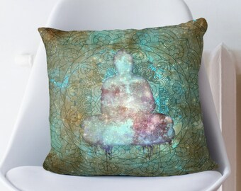 Rusty Blue Space Buddha Pillow Case from 100% Polyester with Pillow Insert