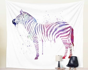 Zebra Wall Art Dorm Wall Hanging | Large Watercolor Tapestry | Abstract Zebra Decor | Huge Zebra Wall Hanging