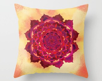 Warm Sunny Mandala Pillow Design Printed