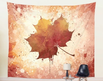 Watercolor Autumn Leaf Wall Tapestry Botanical Wall Decor