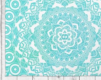 Sea Mandala Area Rug in Bright Blue Color with Bonus Non-Slip Rug Pad